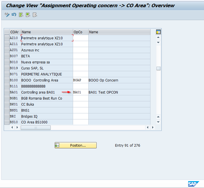 Assign SAP Operating Concern to SAP Controlling Area