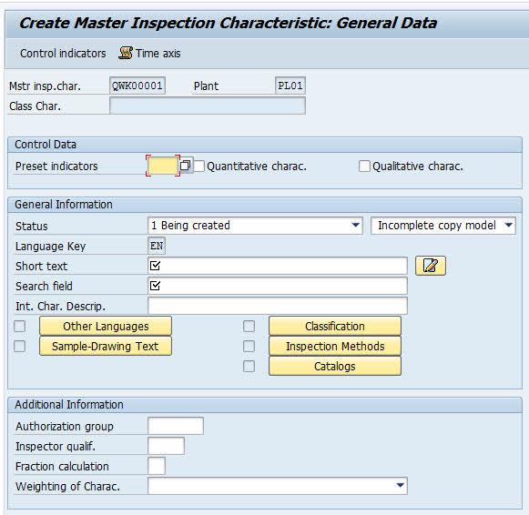 qs21 create inspection characteristic sap